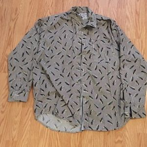 Columbia Button Up Shirt With Fish Pattern XL